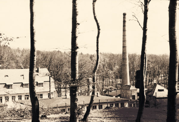 A prominent landmark, the high chimney, 1951