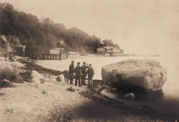 """The """"swan stone"""", which later became part of the mole, ca. 1885, © City Archives and City Library Sassnitz"""